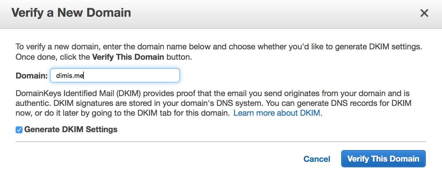 Verifying your domain name on Amazon Web Services