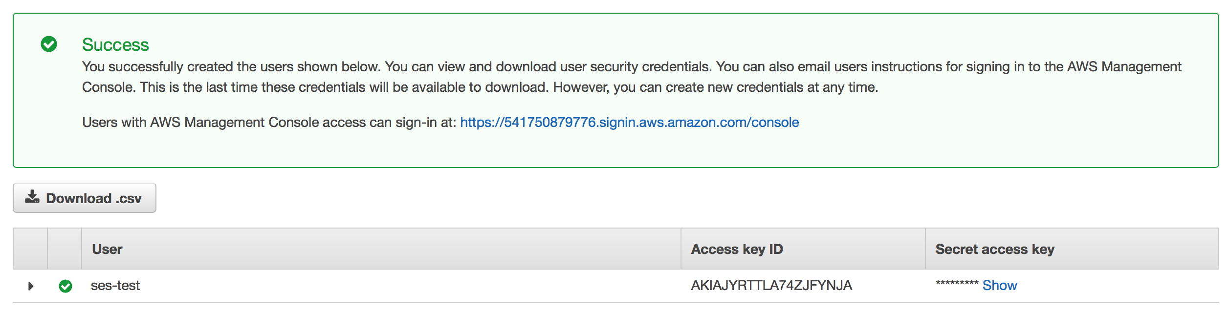 Creating credentials for Amazon SES on IAM service
