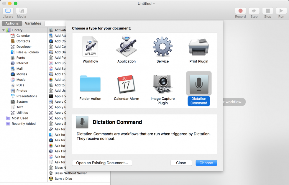 Automator.app - New dictation command